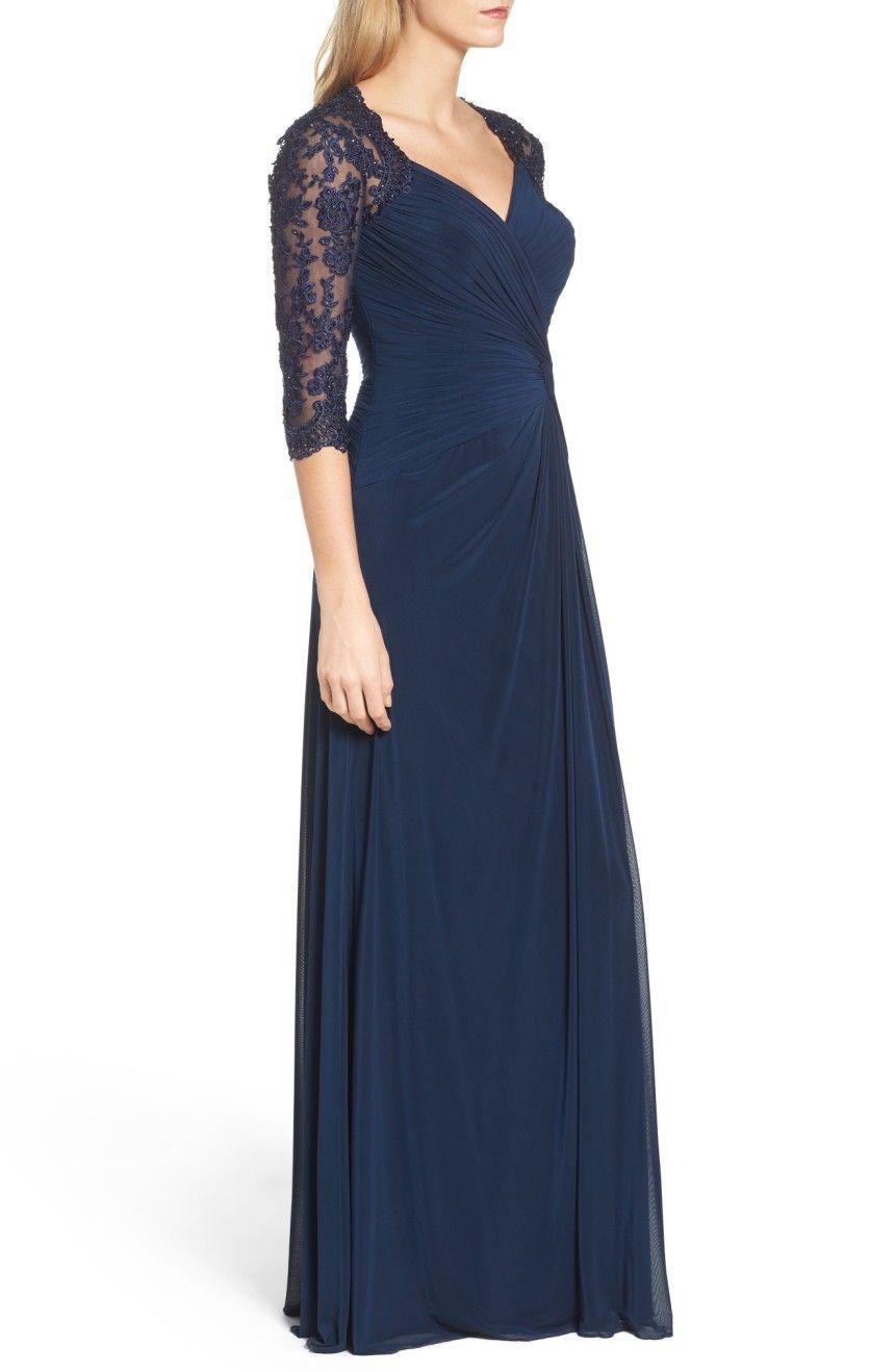 5399691792c Main Image - La Femme Lace   Net Ruched Twist Front Gown