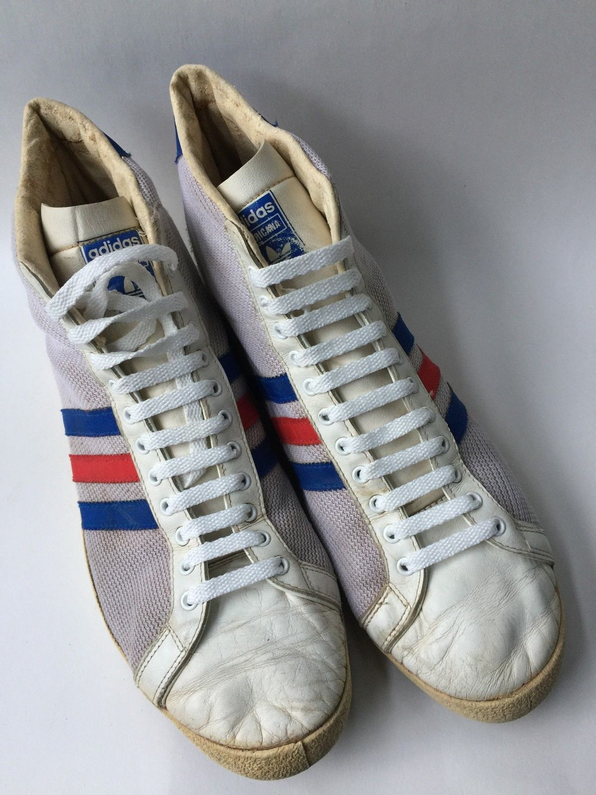b80cb3a1cc0 Vintage adidas Americana Hi Top Made in France 70s RED WHITE BLUE sz ...