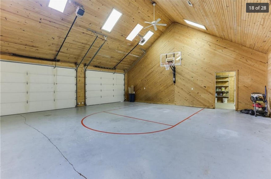 Indoor Basketball Court This Is In A Garage Home Gym Garage Home Gym Flooring Home Basketball Court