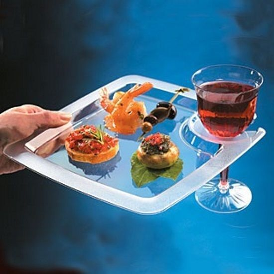 60 PARTY PAL 9\  PREMIUM PLATES with WINE GLASS HOLDER ~ BUFFETS ~ WEDDINGS ~ & 60 PARTY PAL 9\