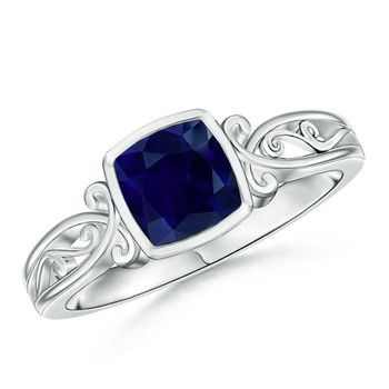 Angara Victorian Carved Shank Sapphire and Diamond Vintage Ring hirWKtF