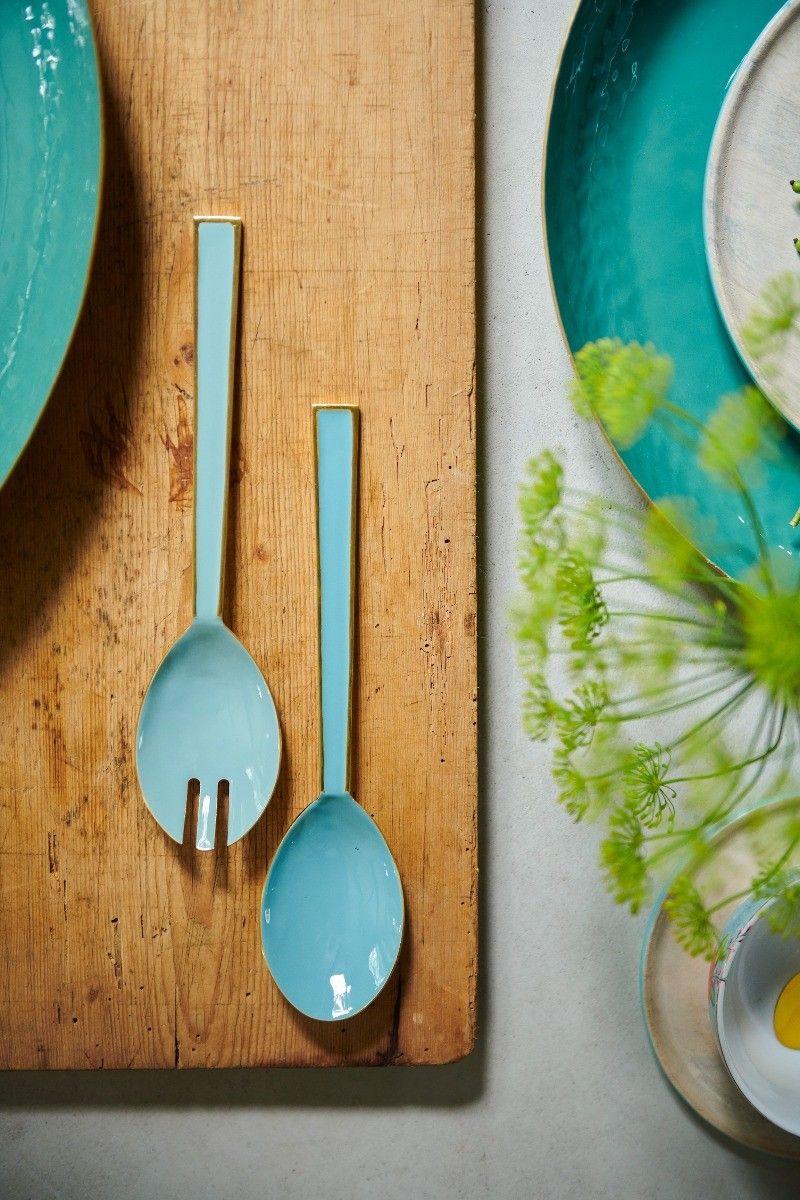Blushing Birds Enamelled Salad Cutlery blue #gedecktertisch