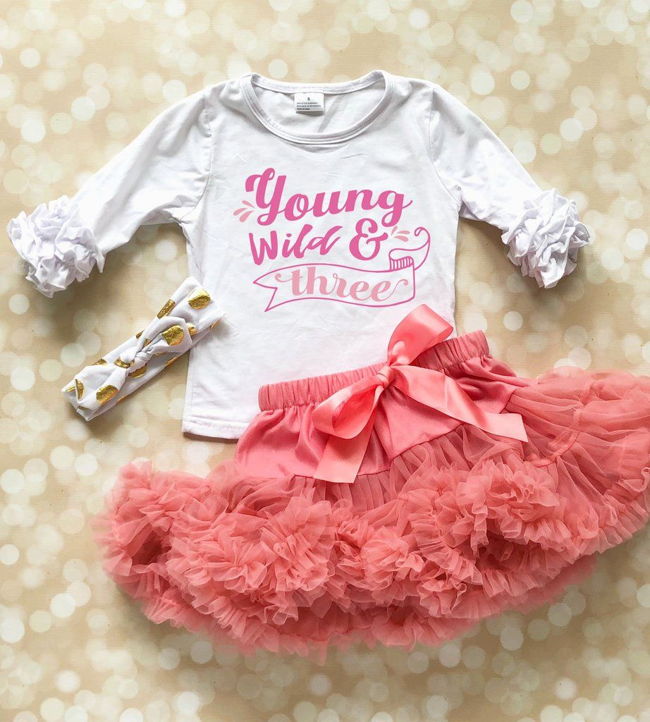Young Wild Three 3rd Birthday Shirt For Girl