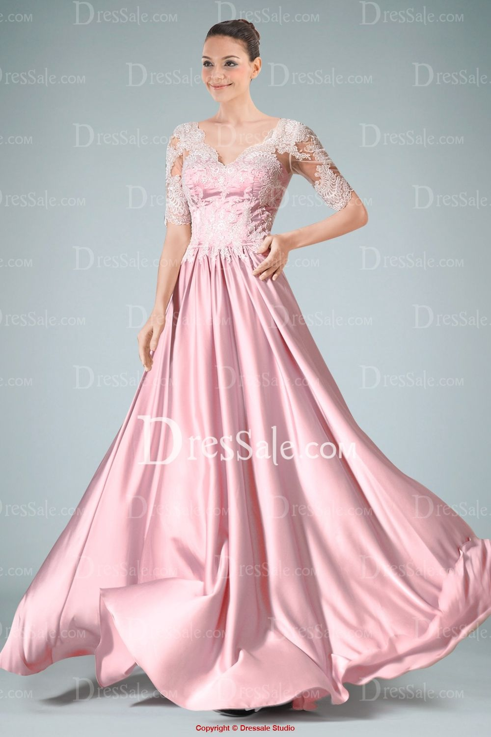 Delicate V-neckline Evening Dress Featuring Lace Bodice and Draped ...