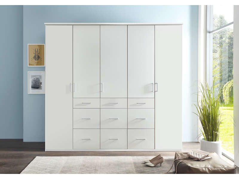 Armoire 5 portes SMART coloris blanc pas cher prix Armoire Conforama - chambres a coucher conforama