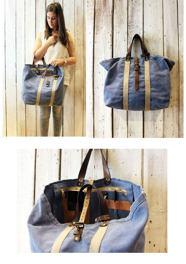 Posillipo bag handmade italian leather canvas tote for Borse fai da te jeans