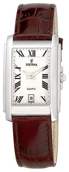 Festina F16202 1 Men s Watch Rectangular Stainless Steel Case Brown Strap 1e6c7135046f