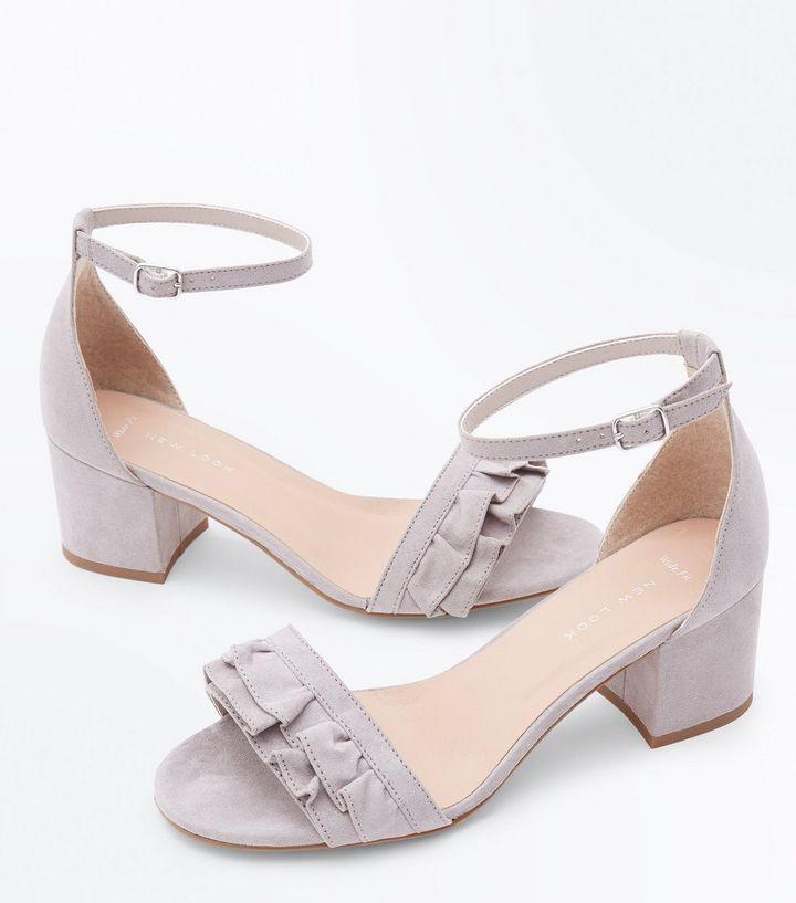 Grey Frill Strap Low Block Heel Sandals