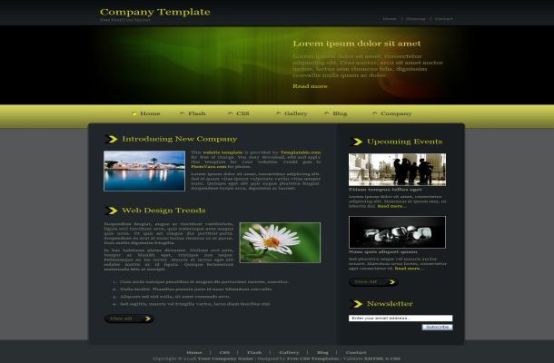 Jquery Dark Green Css Template Free Download