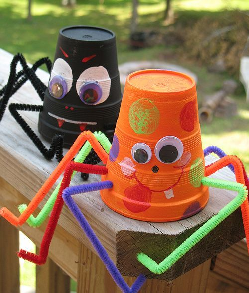"""These spiders can be made from paper or foam cups. We have provided a cute friendly version as well as a traditional """"scary"""" version appropriate for Halloween. Have fun with this cute Halloween craft!"""