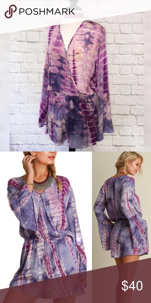 05be0f69ba7 NWT Umgee Brand Purple Tie Dye Long Sleeve Romper This beautiful purple tie  dyed   dip