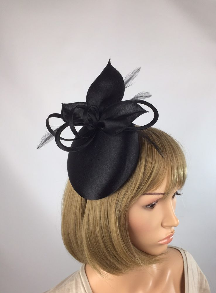 Satin Black Fascinator Occasion Wedding Mother Of The Bride Ascot Races  ff1defeb749
