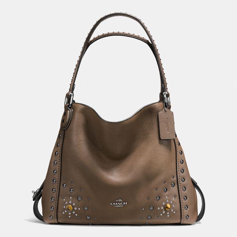Coach Western Rivets E Shoulder Bag 31 In Polished Pebble Leather