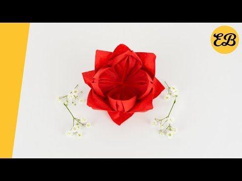 Servietten falten Rose einfach - Servietten Hochzeit - DIY Weihnachten - einfach Origami - YouTube #serviettenfalteneinfach