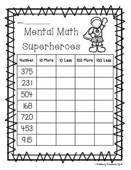 mental math superheroes 10 more 10 less 100 more 100 less math maths number sense 2nd. Black Bedroom Furniture Sets. Home Design Ideas