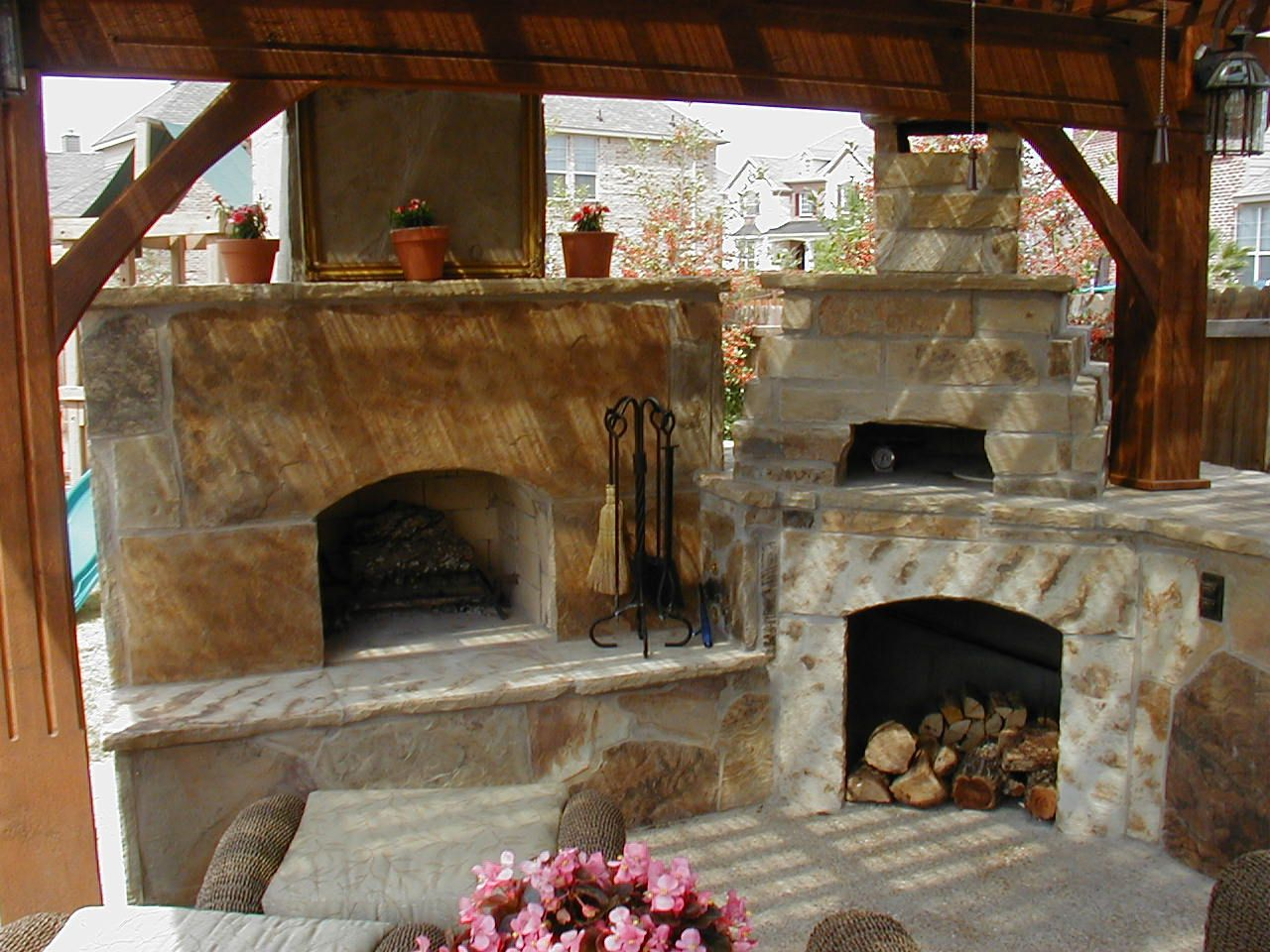 Rock Walkway Leading Up To The Perfect Outdoor Fireplace, Pizza Oven And  Kitchen Under A
