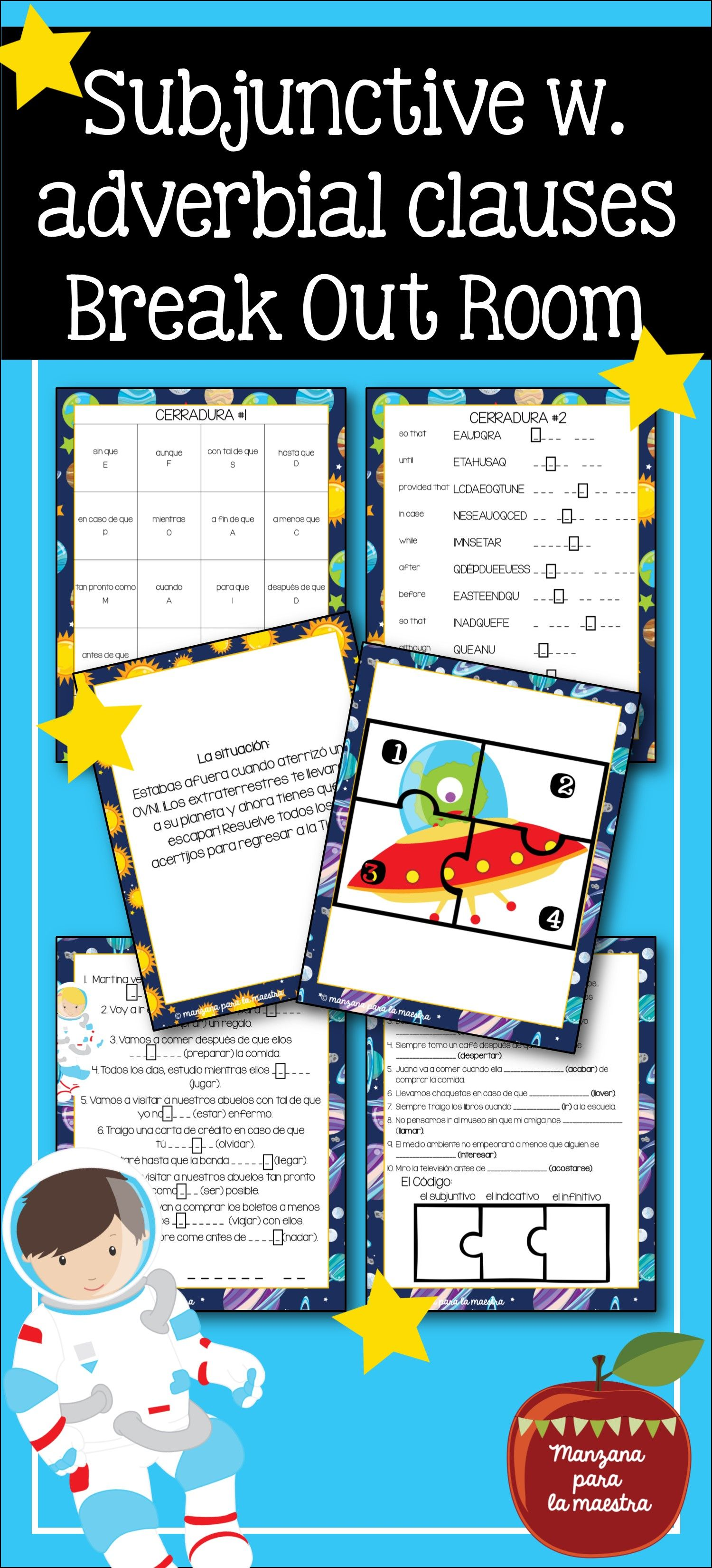 worksheet Acabar De Worksheet subjunctive with adverbial clauses break out escape room lesson activities