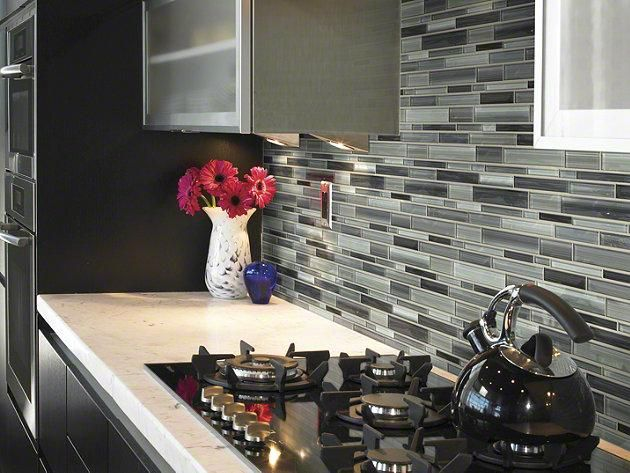 glass tile in style atomic glass color carbon a true custom work of kitchen countertopskitchen backsplashliving room - Glass Tile Living Room 2015