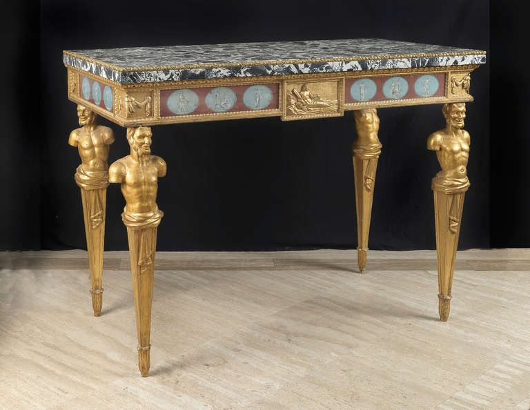 A very fine pair of Roman painted and giltwood  console tables image 2