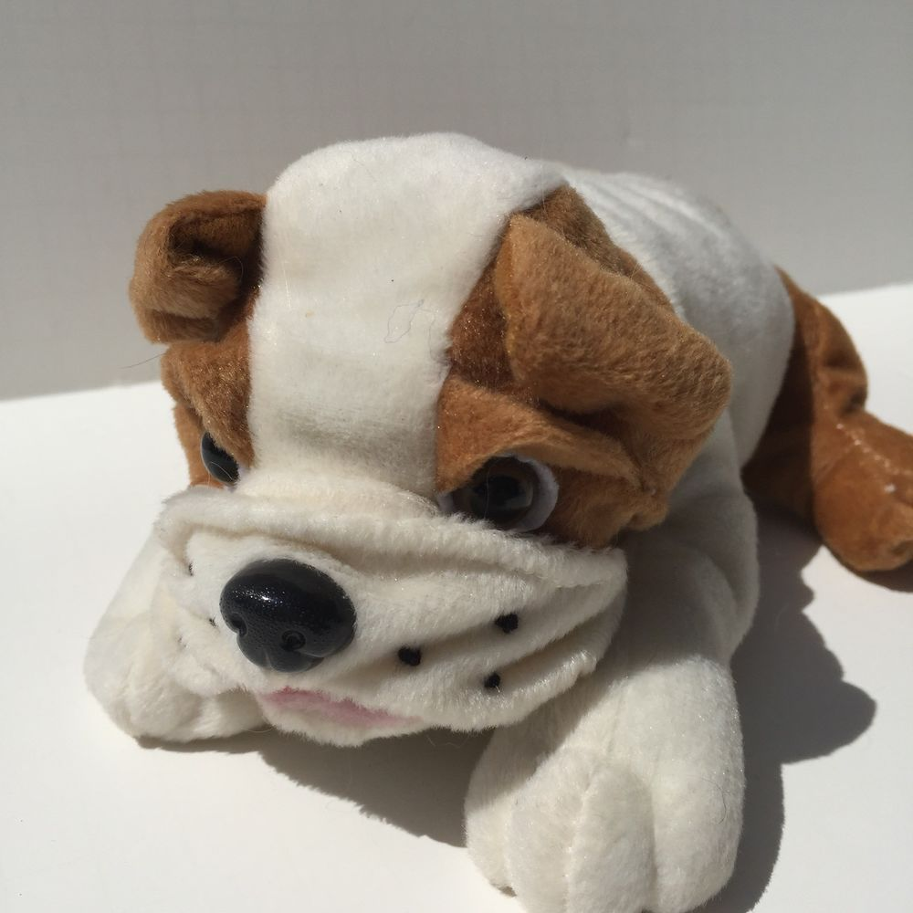 Peek A Boo Toys Plush Bulldog Puppy Stuffed Animal 8 Long Tan Beige
