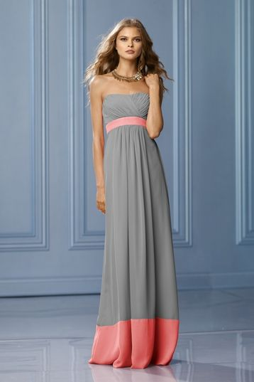 Wtoo 493 Bridesmaid Dress | Weddington Way in grey with coral bordering  Ps: I'm having so much fun with this website! :)
