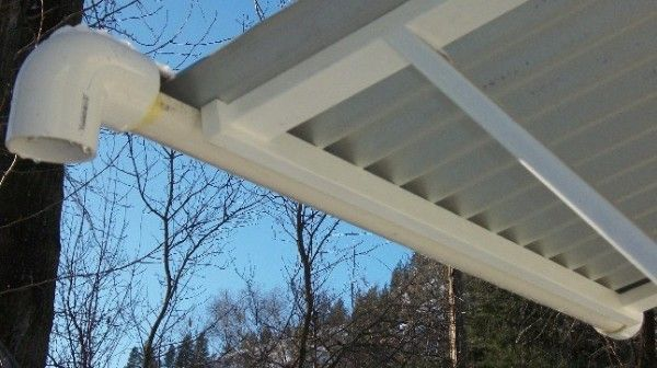 Using A PVC Pipe On A Metal Roof As A Gutter Dead Easy