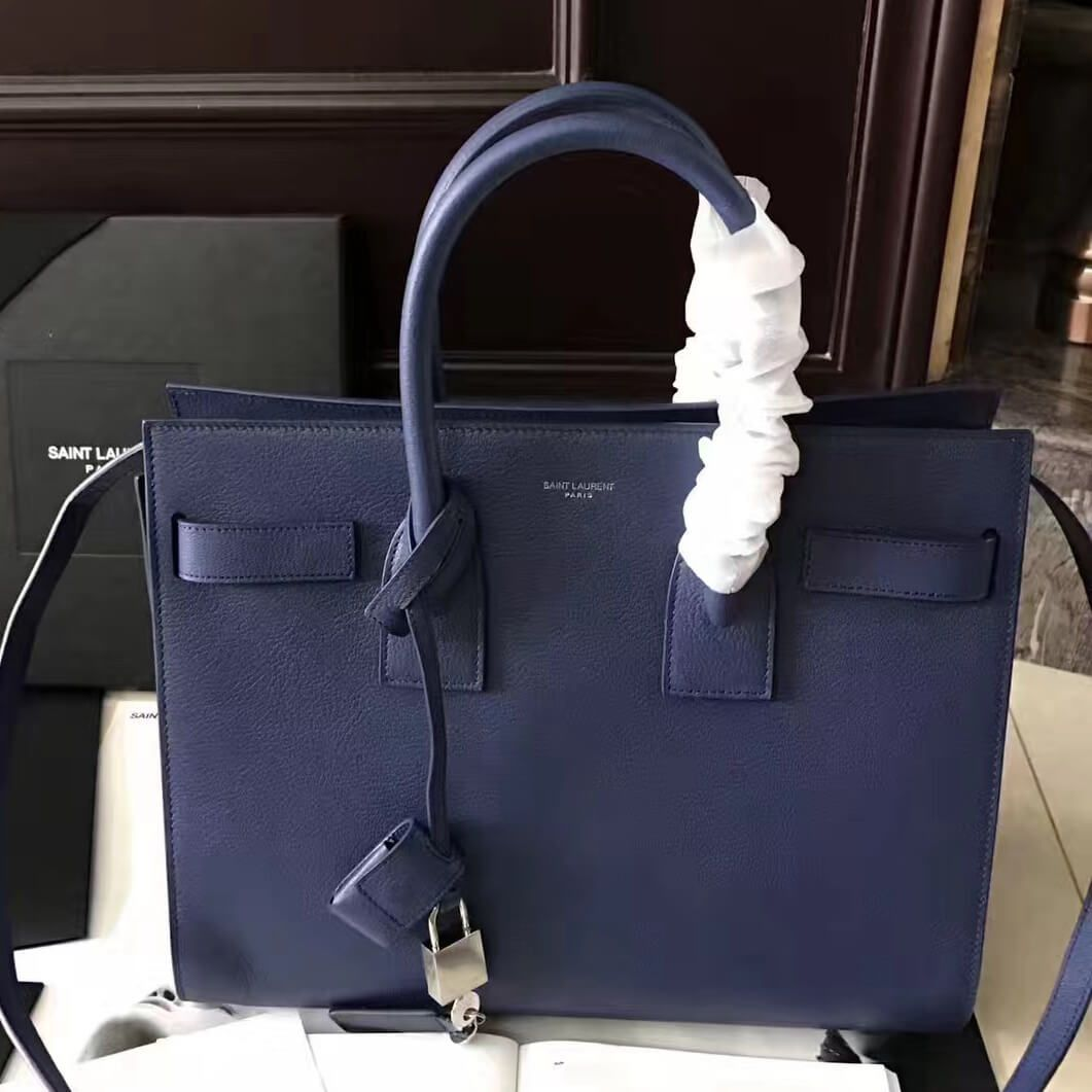 68dc2daaa1 Saint Laurent Classic Small Sac De Jour in Navy Blue Goatskin 2017 ...
