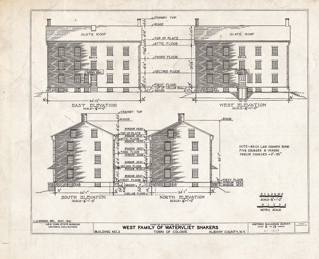 Blueprint Habs Ny 1 Col 3 Sheet 6 Of 13 Shaker West Family Broom Shop Watervliet Shaker Road Colonie Township Watervliet Albany County Ny My House Plans Home Design Floor Plans Bungalow Floor Plans