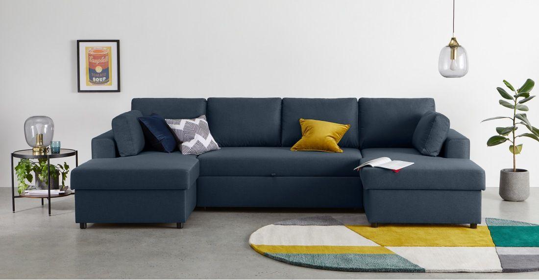 Made Regal Blue Corner Sofa Bed