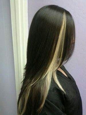Like The One Blonde Streak Showing On Top Dark Hair With Highlights Hair Highlights Blonde Peekaboo Highlights