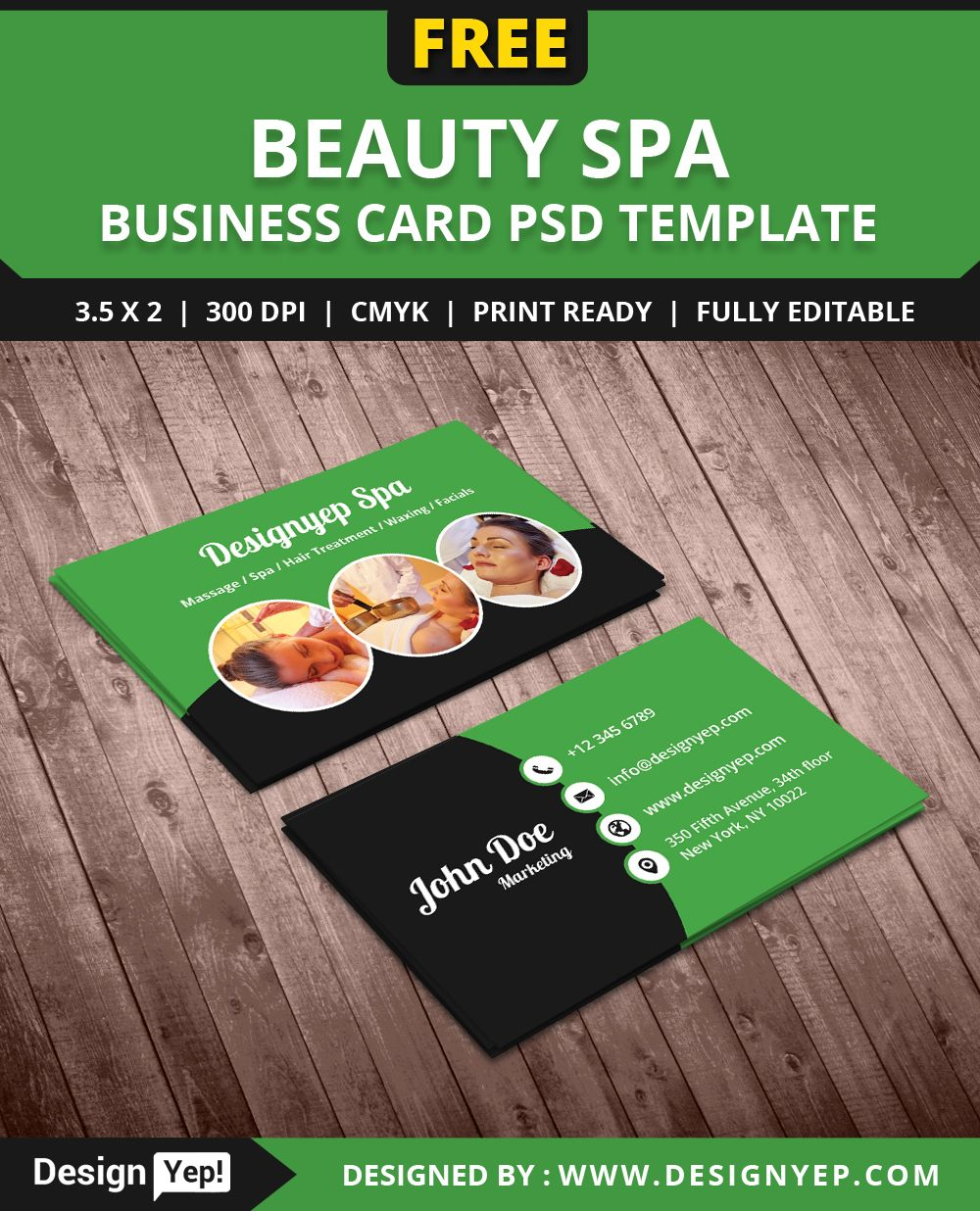FreeBeautySpaBusinessCardPSDTemplateDesignYep Free - Editable business card templates free