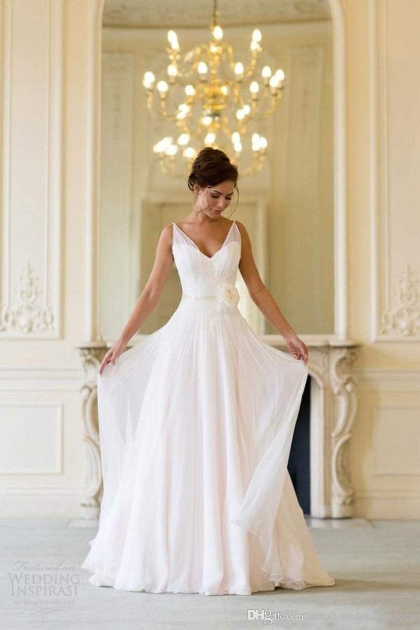 1ca6f2ecf2 Grecian vestidos de novia de playa sin espalda cuello en V que fluye  Vintage Boho vestido nupcial una línea de estilo vintage griego de la diosa  de la diosa ...
