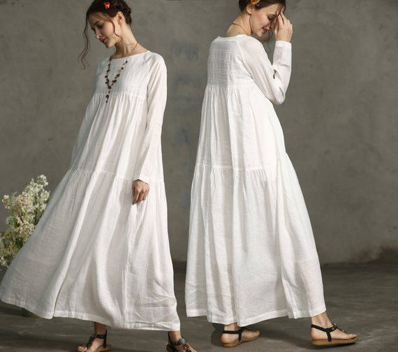 linen dress, maxi dress, green dress, loose fitting dress, wedding dress, layered dress, linen kaftan | Linennaive®