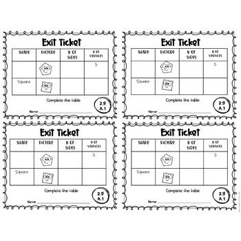 2nd Grade Common Core Exit Tickets: Geometry EDITABLE