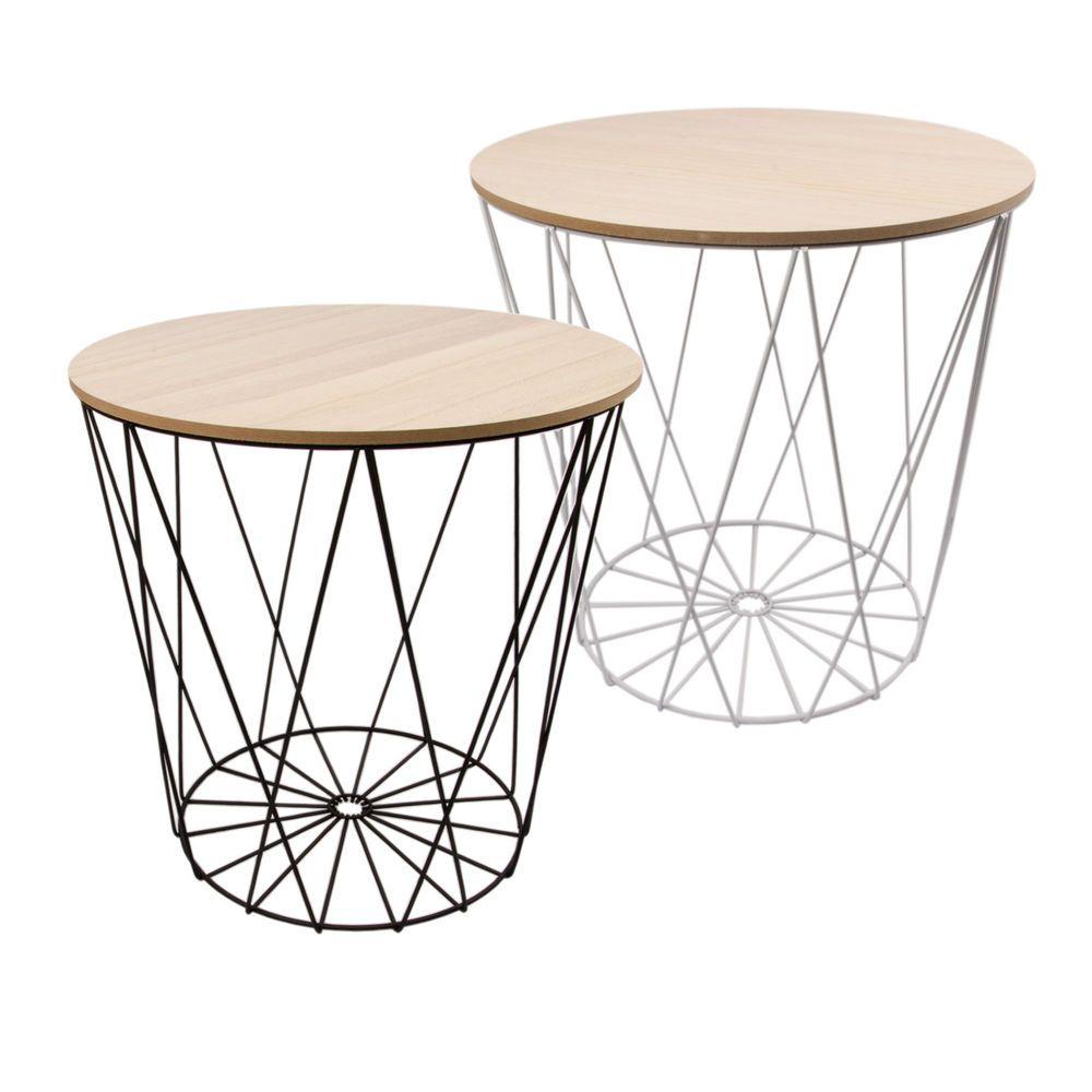 Details zu Tisch Design Beistelltisch Drahtkorb Metall mit Deckel ...