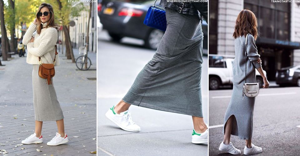 How To Wear Skirts With Trainers | How