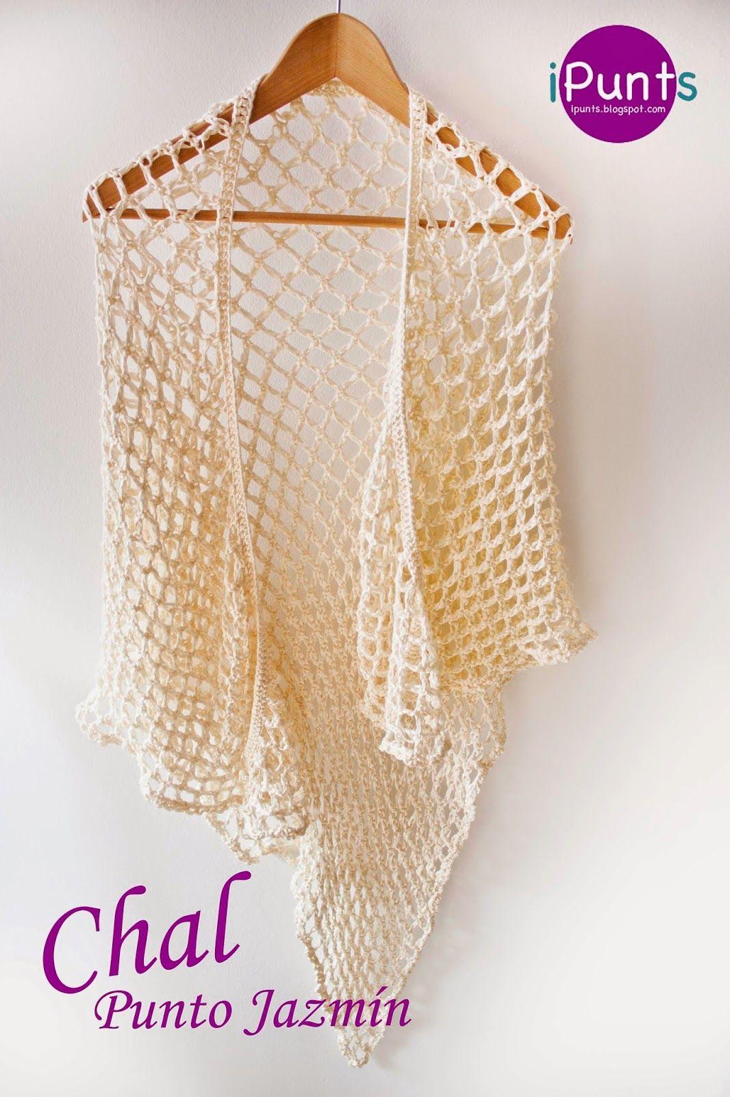Aprende punto jazmín a crochet y confecciona un chal. Patrón gratis ...