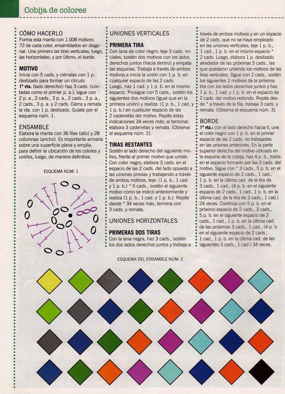 Manta con 1008 motivos unidos - Patrones Crochet | colchas ...