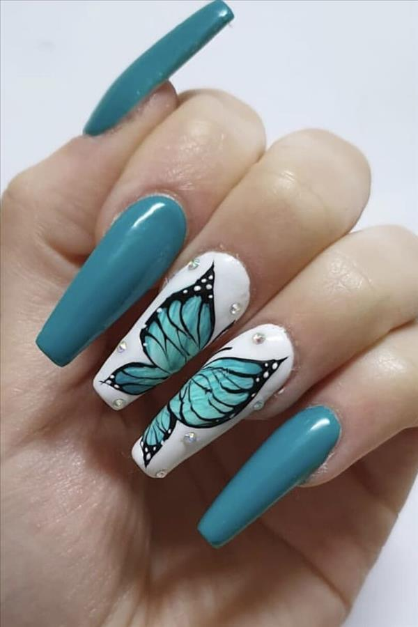 2020 A collection of fashion blue nails - Fashion Girl'S Blog