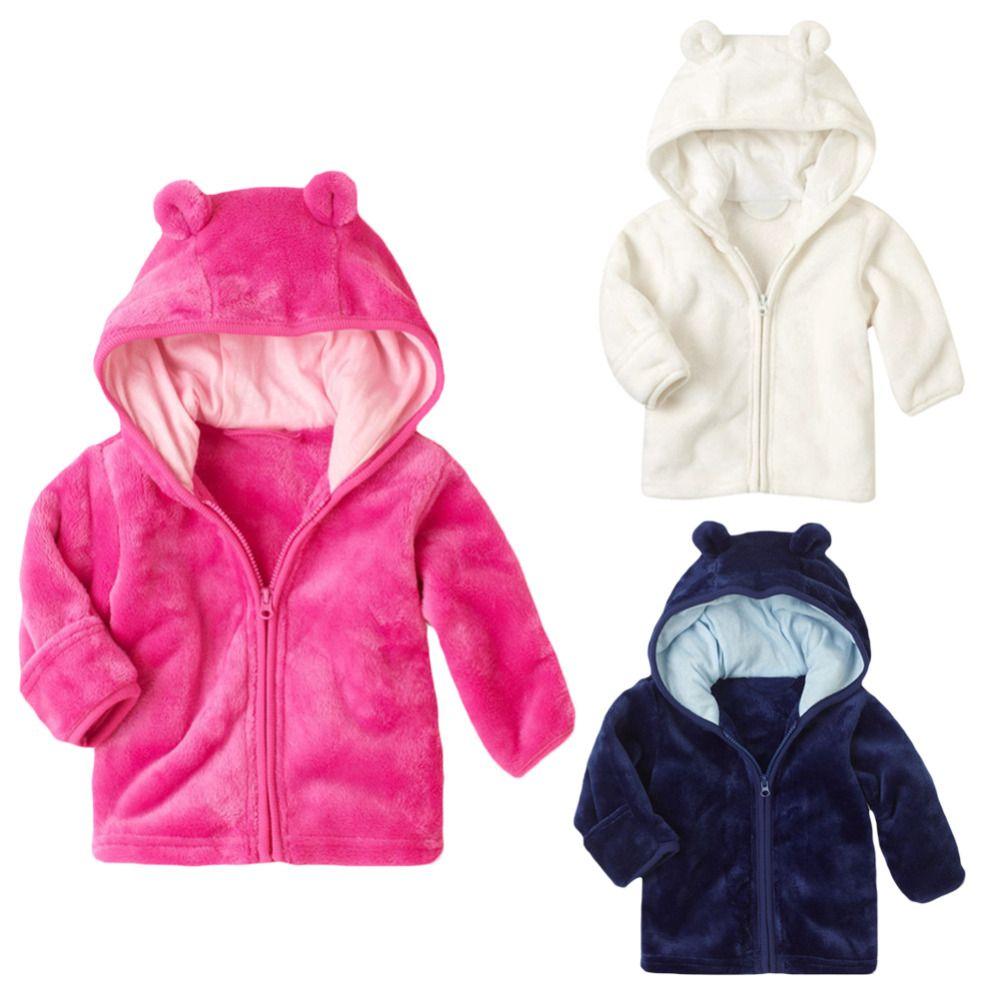 cf2c0083deb7 NEW 3-24M Winter Fall Warm Thick Coral Fleece Baby Boys Girls Coat Long  Sleeve Cute Ear Hooded Solid Jacket Infant Zipper Coat