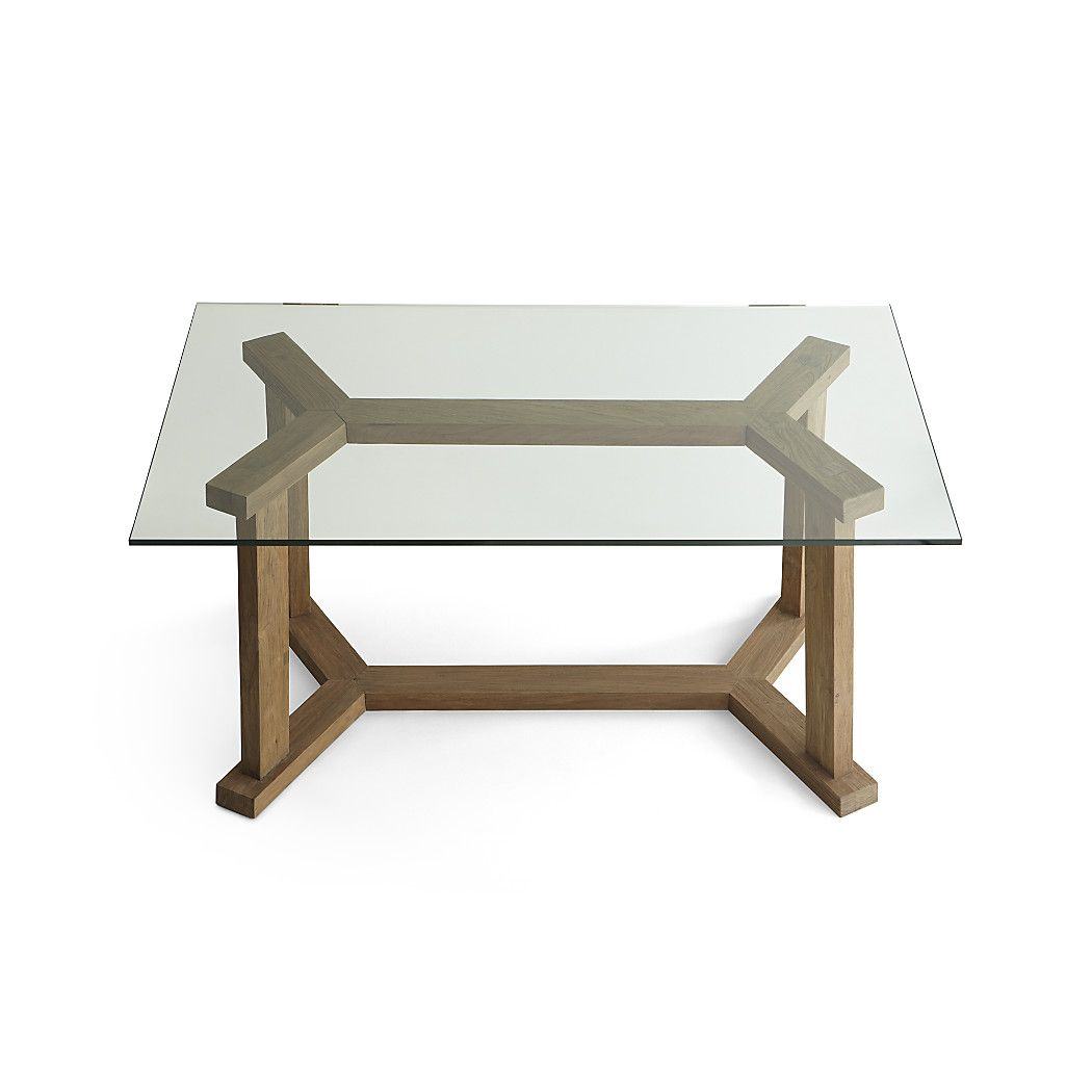 A Sparkling Clear Glass Top Provides A Clear View Of The Table S Reclaimed Teak Trestle Base Len Reclaimed Wood Dining Table Wood Dining Table Glass Top Table