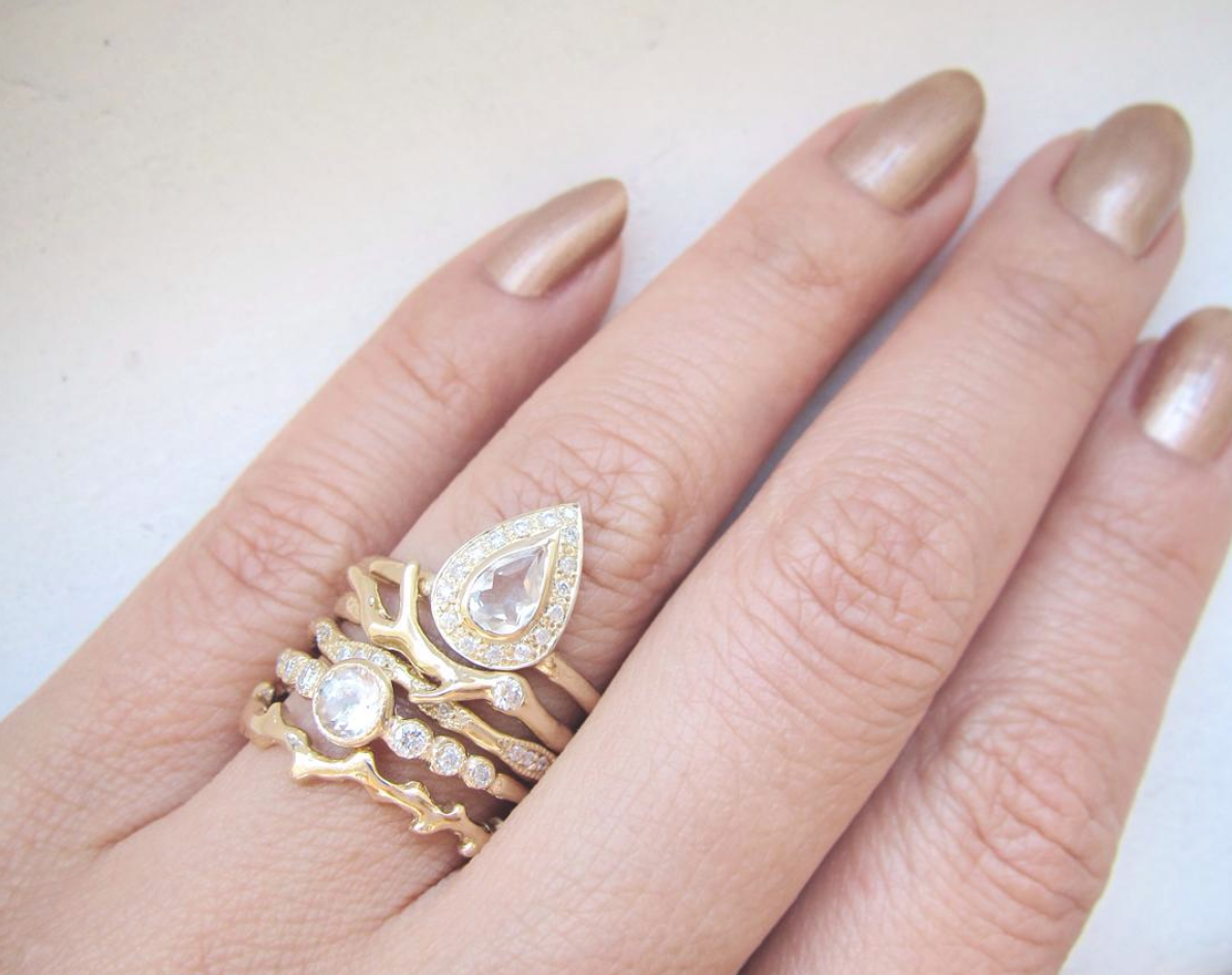 Misa Jewelry Wedding stack in yellow gold - SO GORGEOUS ...