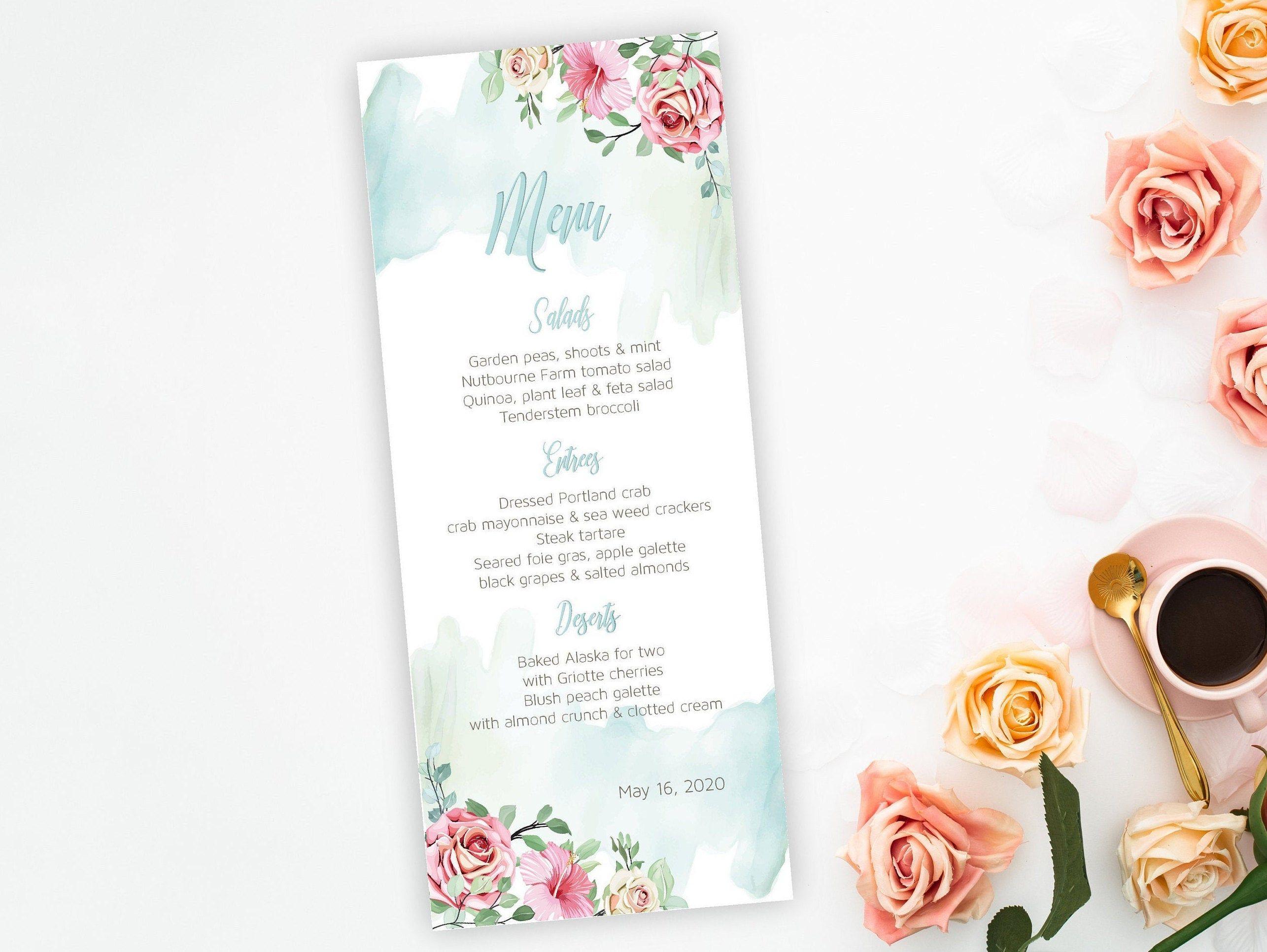 Menu Card Template 4x8 Wedding Menu Template Bridal Shower Menu Baby Shower Menu Printable Menu Card Template Wedding Menu Template Printable Menu Template