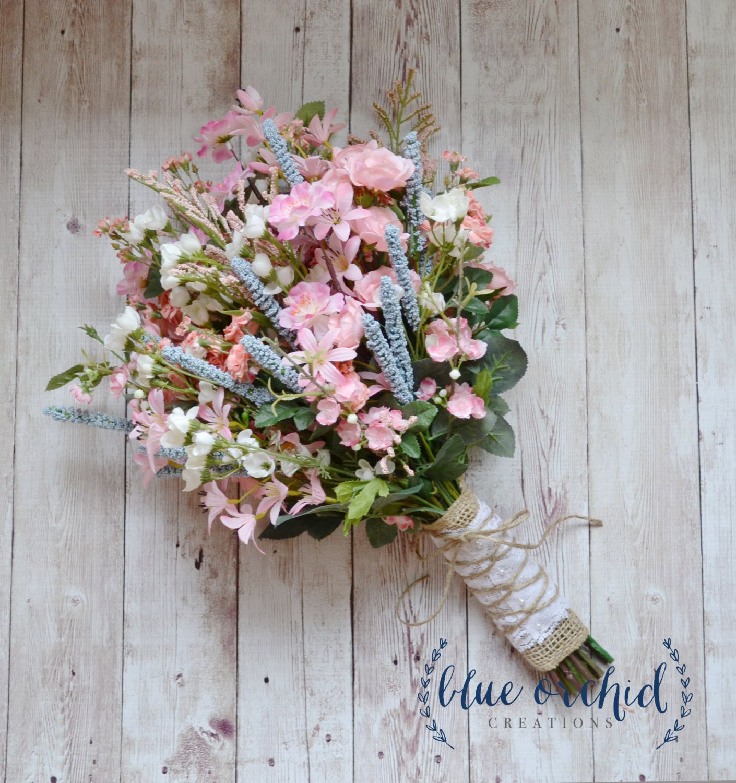 Wildflower bridal bouquet rustic bouquet pink for Bouquet chic