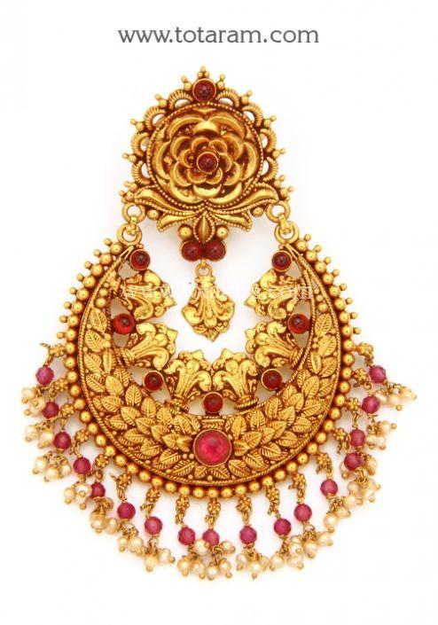 22K Gold Chand Bali Pendant Temple Jewellery Totaram Jewelers