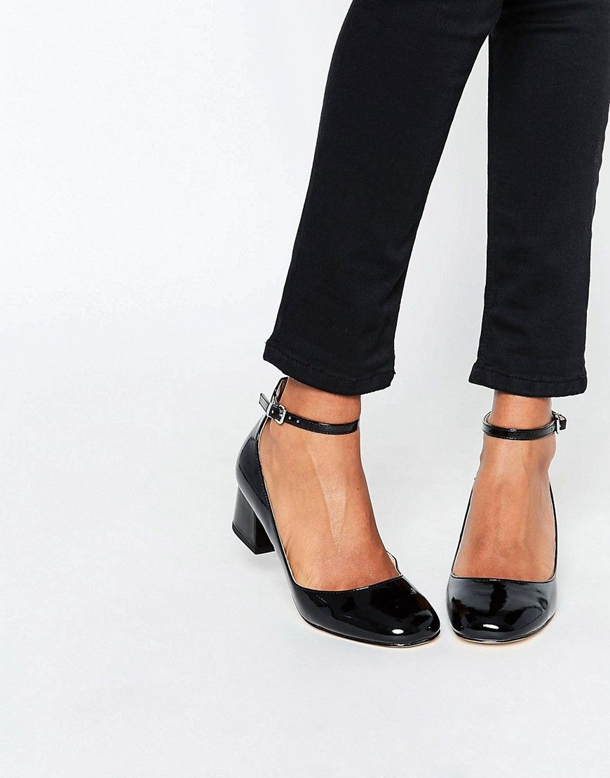 Image 1 of Miss KG Amber Black Mid Heeled Ankle Strap Shoes