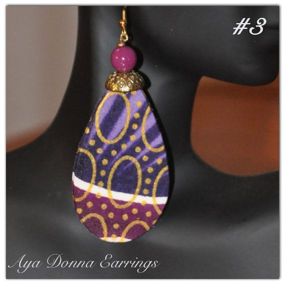 Purple African Fabric Earrings   Medium size by ayadonna on Etsy, $12.00