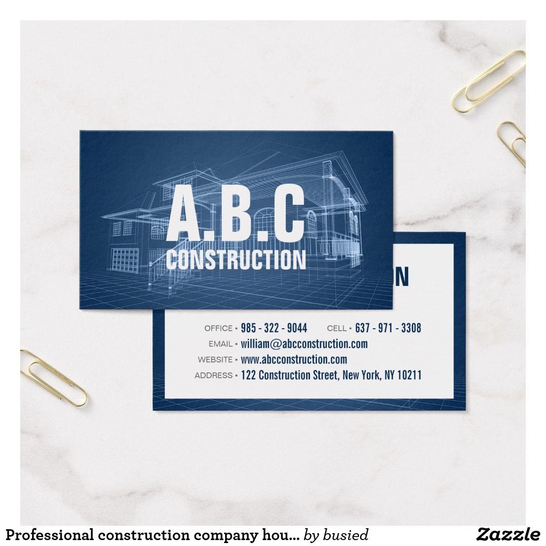 Professional construction company house blueprint business card professional construction company house blueprint business card malvernweather Gallery