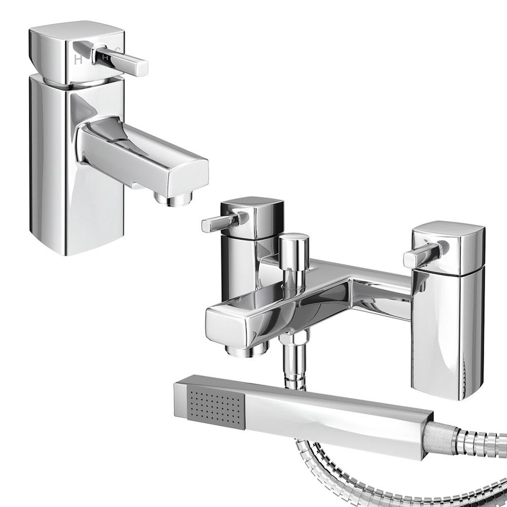 Neo Minimalist Basin and Bath Shower Mixer Chrome at