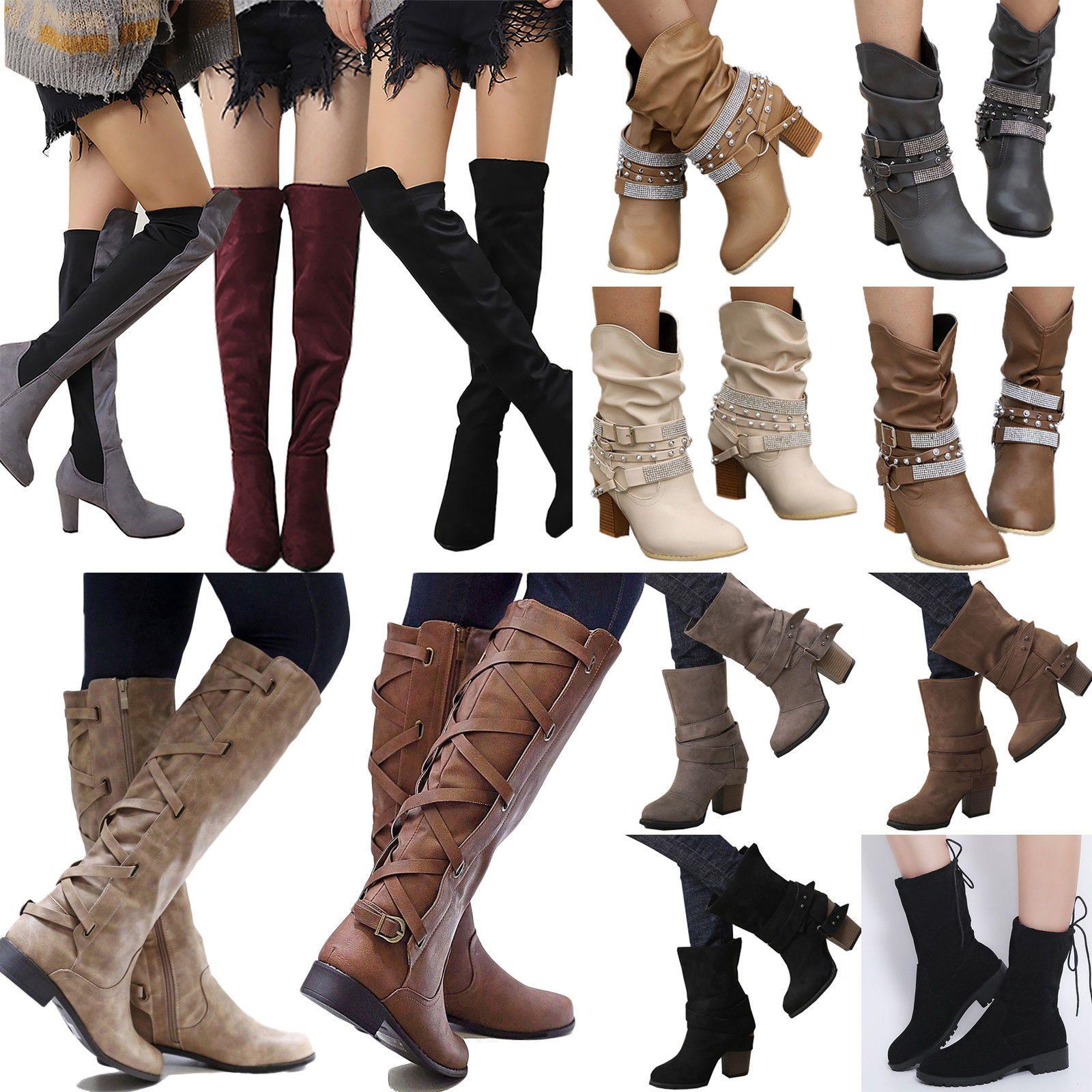 Damen Stiefeletten Schlupfstiefel Langschaft Boots